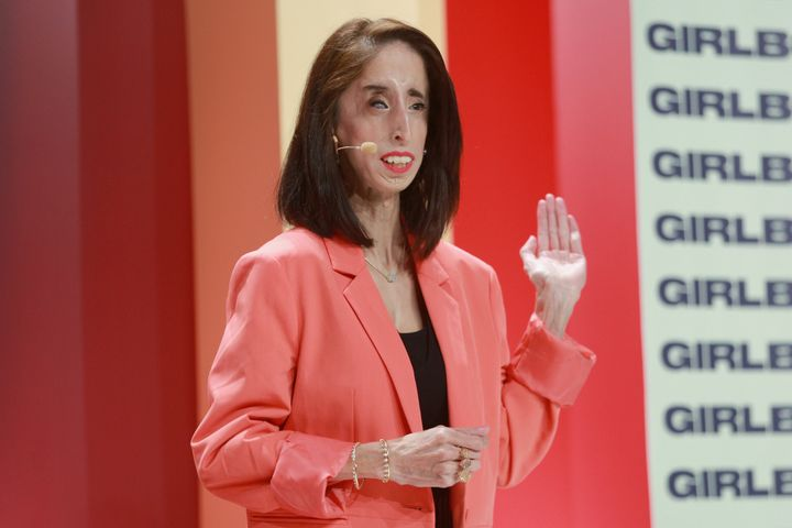 Advocate Lizzie Velasquez speaks on stage at the 2018 Girlboss Rally at Magic Box on April 28, 2018.