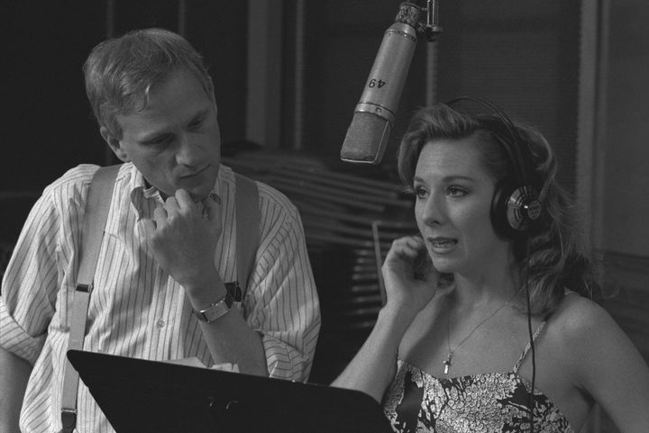 "Ashman and ""Beauty and the Beast"" star Paige O'Hara during a recording session."