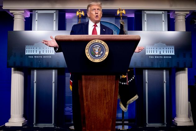 President Donald Trump speaks at a news conference in the James Brady Press Briefing Room at the White...