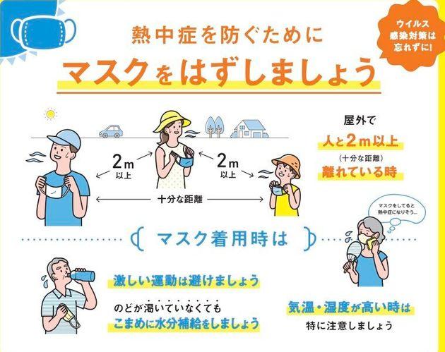 環境省と厚労省が作成した熱中症予防のリーフレット。「熱中症を防ぐためにマスクをはずしましょう」と訴えている。