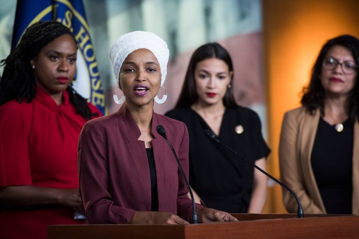 Democratic Reps. Ayanna Pressley (Mass.), Ilhan Omar (Minn.), Alexandria Ocasio-Cortez (N.Y.) and Rashida Tlaib (Mich.) speak