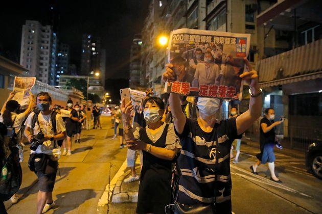 홍콩 대표 반중매체 빈과일보 사주인 지미 라이 석방을 환영하는