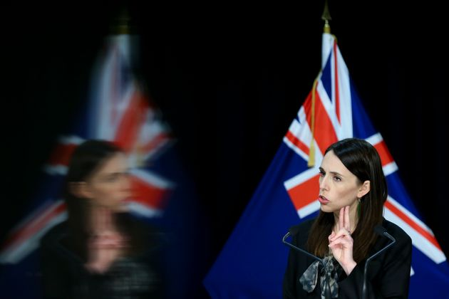 Prime Minister Jacinda Ardern speaks to media during a press conference at Parliament on August 12, 2020...