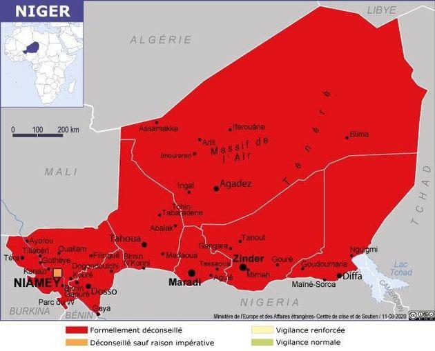 Le ministère des Affaires étrangères a placé l'ensemble du Niger, à l'exception de la capitale Niamey,...