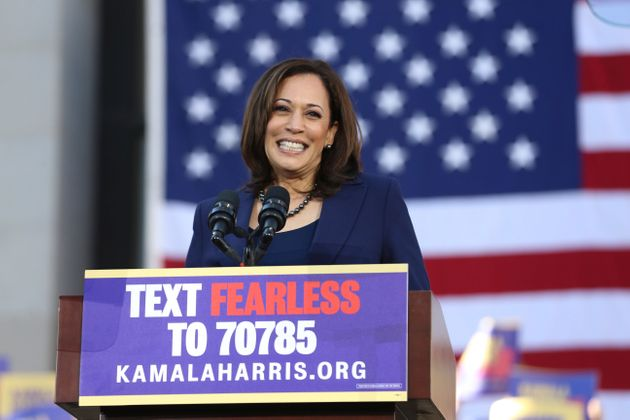 Senator Kamala Harris (D-CA) speaks to her supporters at the official launch rally for her campaign as...