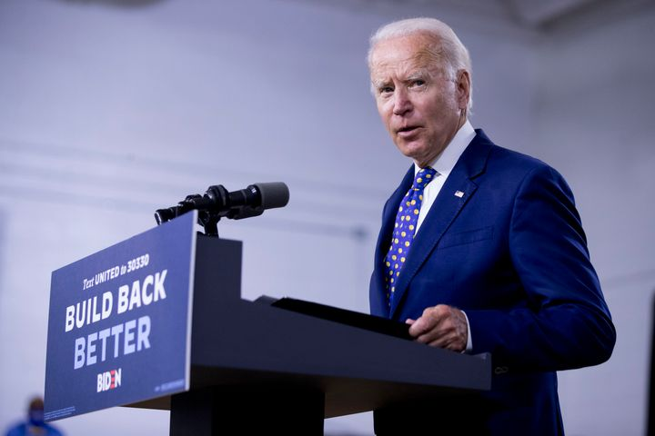 "In this July 28, 2020, file photo, Democratic presidential candidate former Vice President Joe Biden speaks at a campaign event at the William ""Hicks"" Anderson Community Center in Wilmington, Del. (AP Photo/Andrew Harnik, File)"