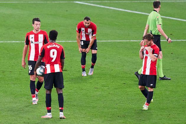 Jugadores del Athletic de Bilbao, en un partido frente al