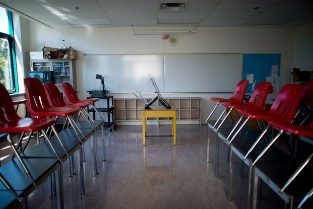 A empty classroom is seen here at Magee Secondary School in Vancouver on Sept. 5, 2014. The B.C....
