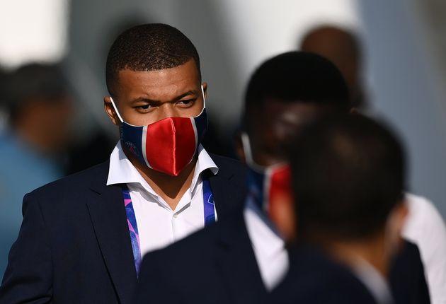 Kylian Mbappé, arrivant au Stade de la Luz à Lisbonne, le 12 août