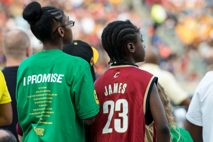 Two children at an event at The LeBron James Family Foundation in Akron, Ohio.