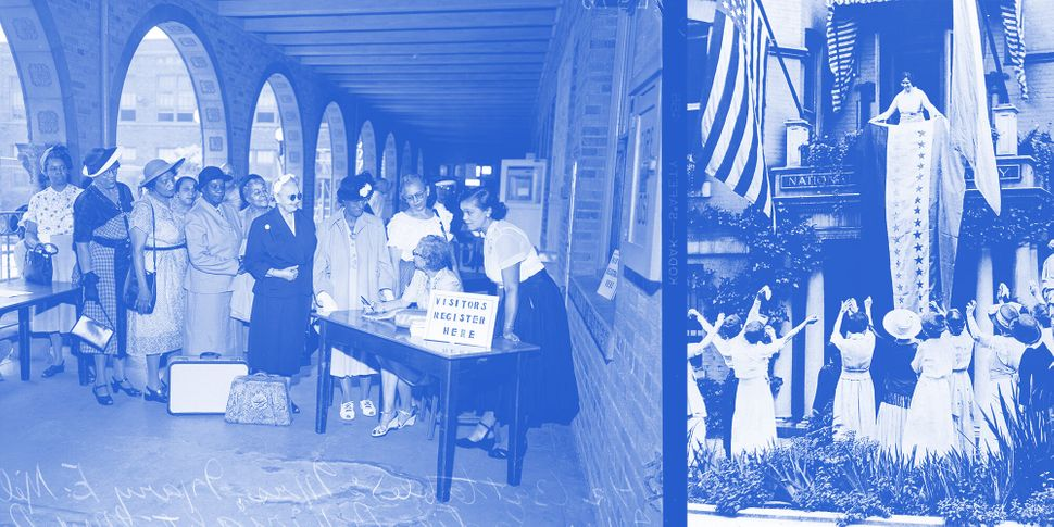 Decades after the ratification of the 19th Amendment, women of color were still advocating for full equality. Left: Women at a 1952 convention for the National Association of Colored Women. Right: White suffragists celebrating. Illustration: Isabella Carapella/ HuffPost; Photos: Getty Images