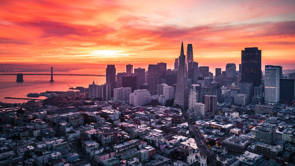 San Francisco Skyline with Colorful and Dramatic