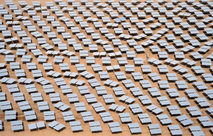 A solar plant co-owned by Google in the Mojave Desert.