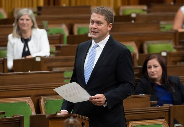 Opposition Leader Andrew Scheer rises during a sitting of the Special Committee on the COVID-19 Pandemic...