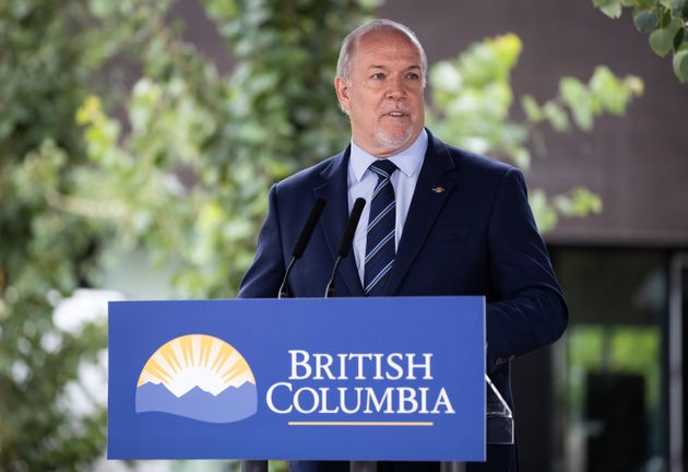 B.C. Premier John Horgan speaks during an announcement in Surrey, B.C., on Aug. 6,