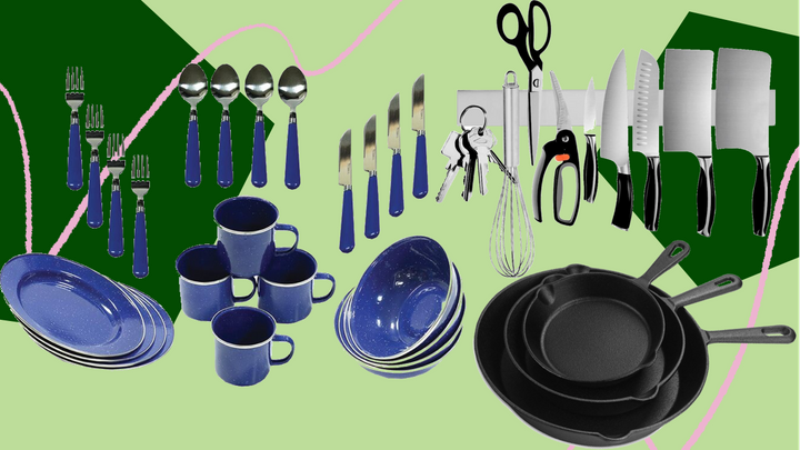 "RV kitchen accessories to have on hand include things like&nbsp;a <a href=""https://fave.co/3fLBKww"" target=""_blank"" rel=""noopener noreferrer"">camping dinnerware set</a>, a&nbsp;<a href=""https://amzn.to/3fSt7jy"" target=""_blank"" rel=""noopener noreferrer"">cast-iron skillet</a> for cooking indoors or over an open flame at campsites, and a&nbsp;<a href=""https://amzn.to/3fKtXPq"" target=""_blank"" rel=""noopener noreferrer"">magnetic knife holder</a>&nbsp;to save counter space."