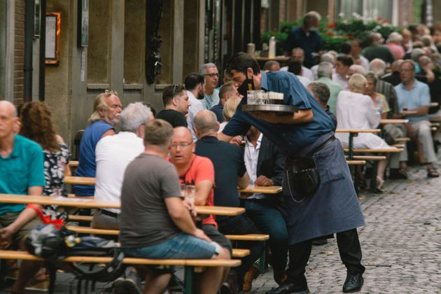 genereal view of a beer garden restaurant in Duesseldorf, Germany, on August 13, 2020 amid the coronavirus...