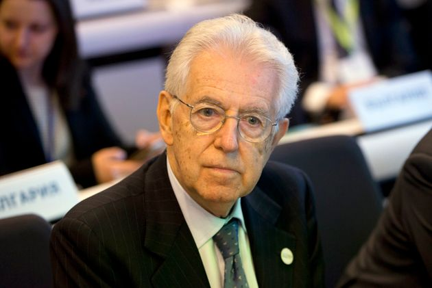 Former Italian Prime Minister Mario Monti attends a conference 'Shaping Our Future' at the EU Charlemagne...