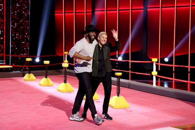 Ellen and tWitch on the set of her game show Ellen's Game Of