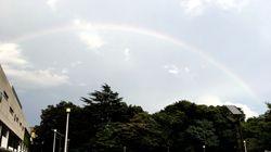 虹が東京都心に出現。ゲリラ豪雨の直後の夕暮れどき
