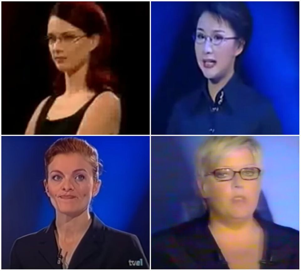 Hosts of The Weakest Link from around the world (clockwise) Finland, China, France and