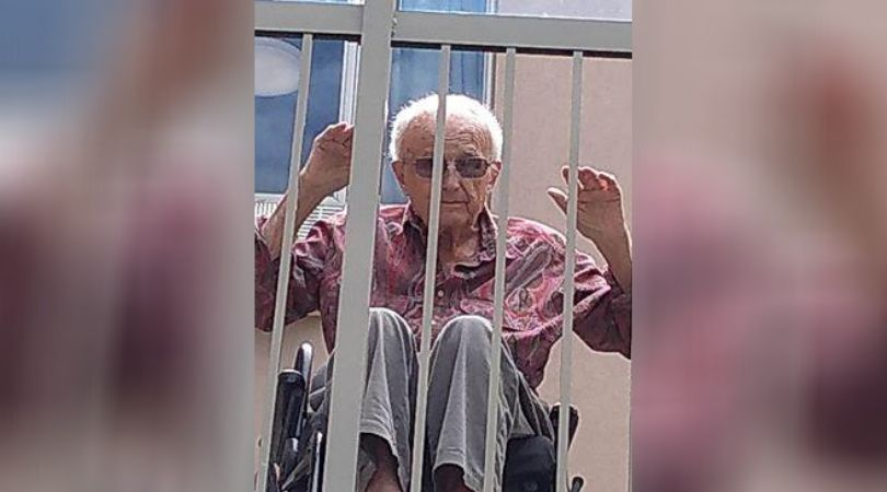 Norman Hoar on a balcony at Heritage Green Nursing Home in Stoney Creek, Ont. in May