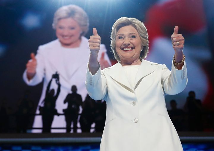 On July 28, 2016, Democratic presidential nominee Hillary Clinton gives a thumbs-up as she appears on stage during the final