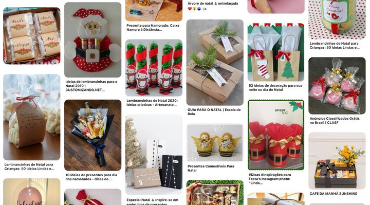 Busca por ideias presentes de Natal no Pinterest.