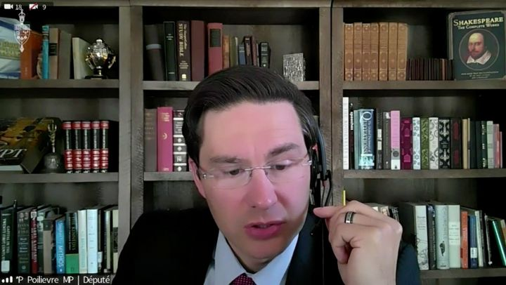 Conservative MP Pierre Poilievre is shown in a Parlvu screengrab of his virtual appearance before the House of Commons finance committee on Aug. 12, 2020.