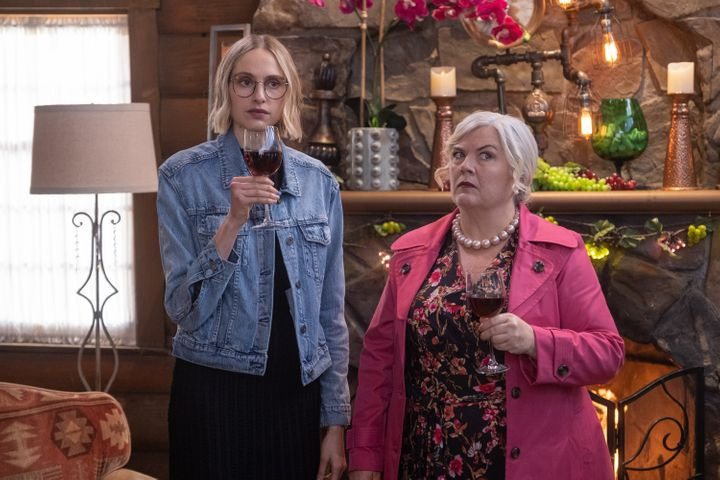 """Paula Pell (right) and Hayley Magnus star in """"Mapleworth Murders,"""" which debuted Monday on Quibi."""