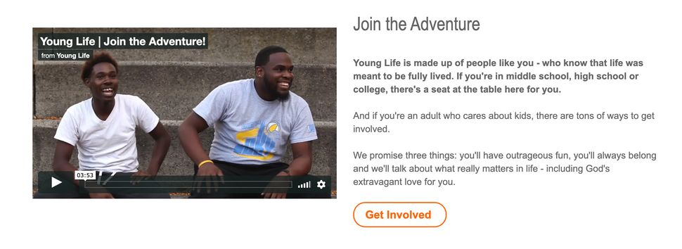 "Young Life's website (pictured in a screenshot) states that ""if you're in middle school, high school or college, there's a se"