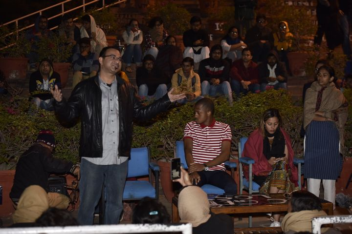 """Dr Kafeel Khan speaks during the """"fee must fall"""" protest at the JNU campus on November 28, 2019 in New Delhi."""