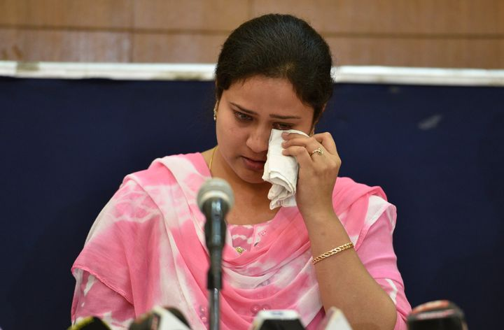Shabista Khan, wife of Dr. Kafeel Khan, during a press conference on April 21, 2018 in New Delhi, India.