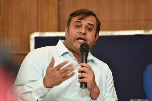 Adeel Khan, brother of Dr. Kafeel Khan, during a press conference on April 21, 2018 in New Delhi,