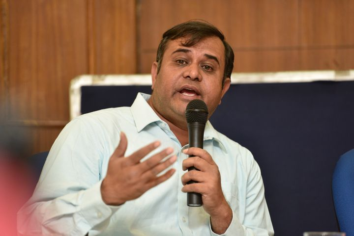 Adeel Khan, brother of Dr. Kafeel Khan, during a press conference on April 21, 2018 in New Delhi, India.