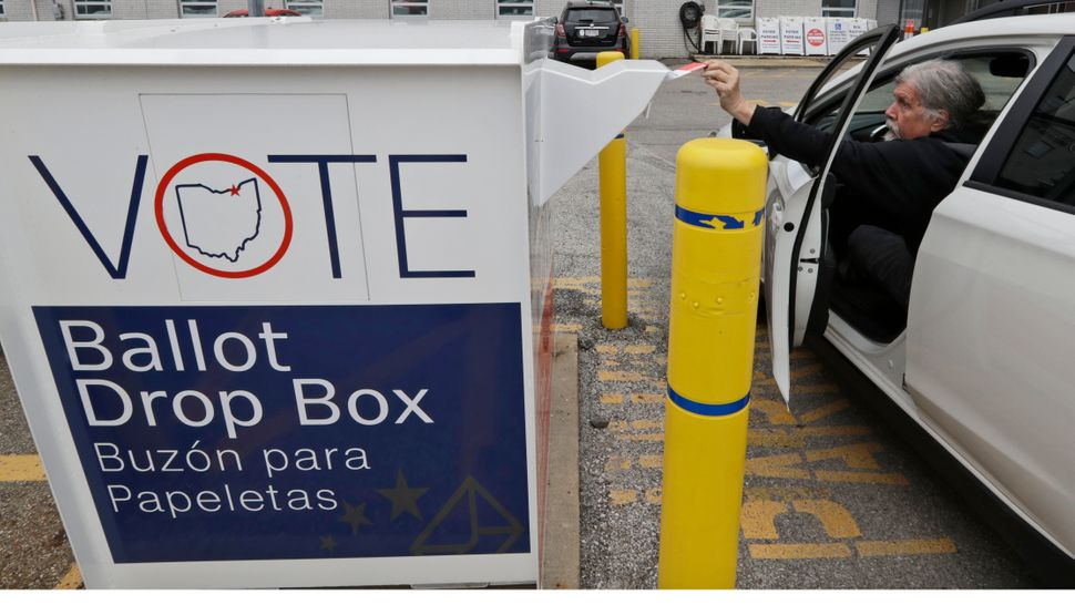 Trump is trying to stop Pennsylvania from using drop boxes,like the one seen here in Ohio, to accept absentee ballots.