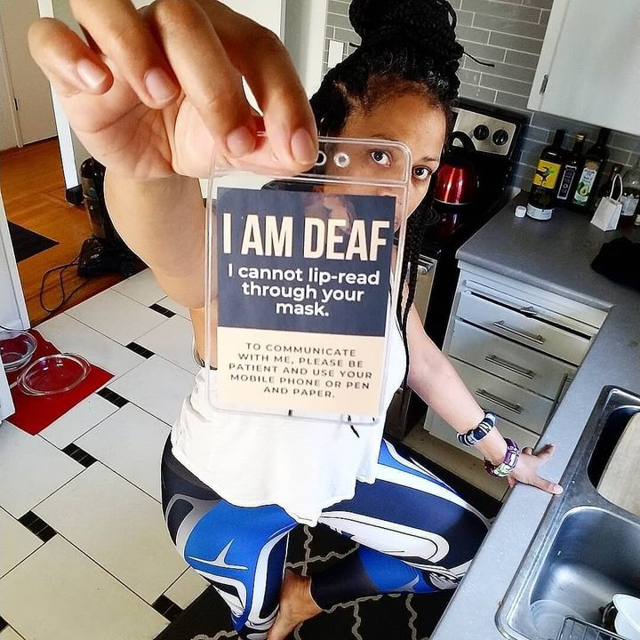 After a Deaf friend shared their woes talking to mask-wearers, musician Naomi Grace decided to make communication badges for Deaf and Hard-of-Hearing people.