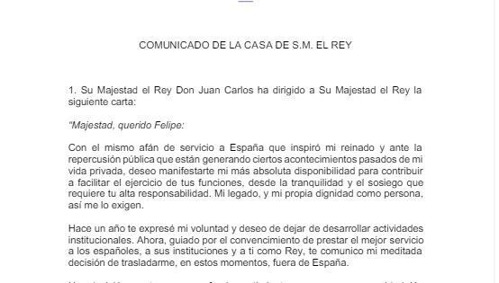 La carta de Juan Carlos