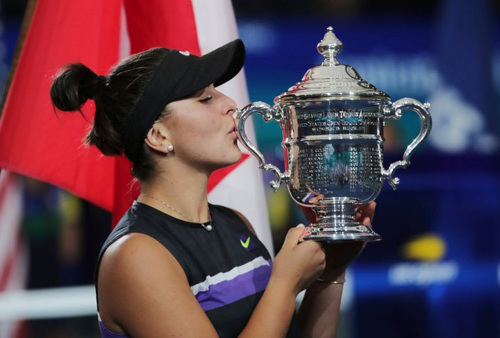 Bianca Andreescu kisses her trophy after winning the U.S. Open on Sept. 7, 2019 in New York.