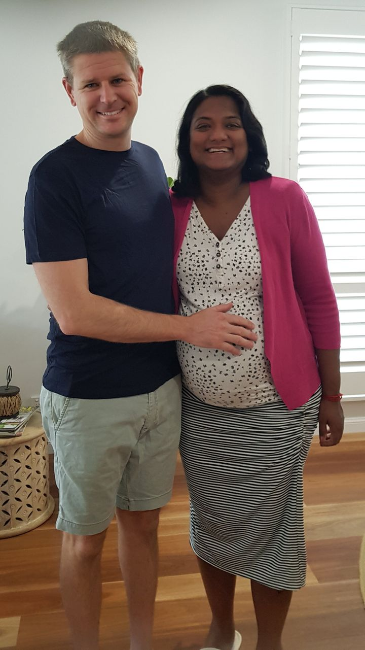 Paramedic Ben Orr was finally reunited with his wife Uma on Thursday after they spent the past seven months apart. Uma is due to give birth in Queensland next week.
