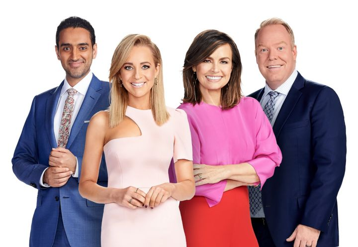 Egyptian Australian presenter Waleed Aly with his co-hosts on The Project