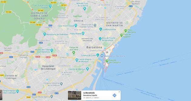Mapa de situación de La Barceloneta, en