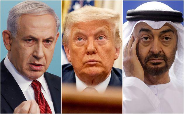 Benjamín Netanyahu, Donald Trump y Mohammed Bin