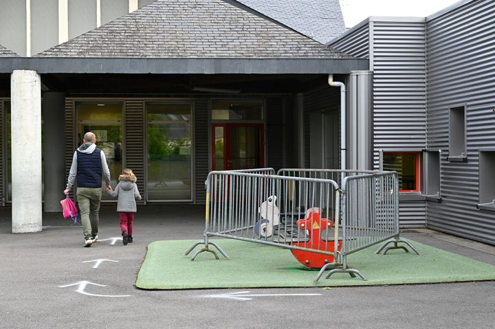 Play equipment is cordoned off at a school in Bruz, France, on May 12.