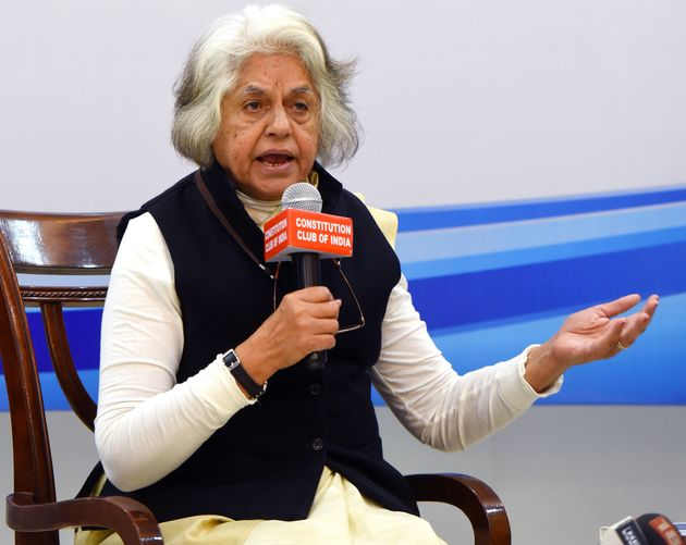 Supreme Court Lawyer Indira Jaising speaks at Constitution Club on March 8, 2019 in New Delhi,