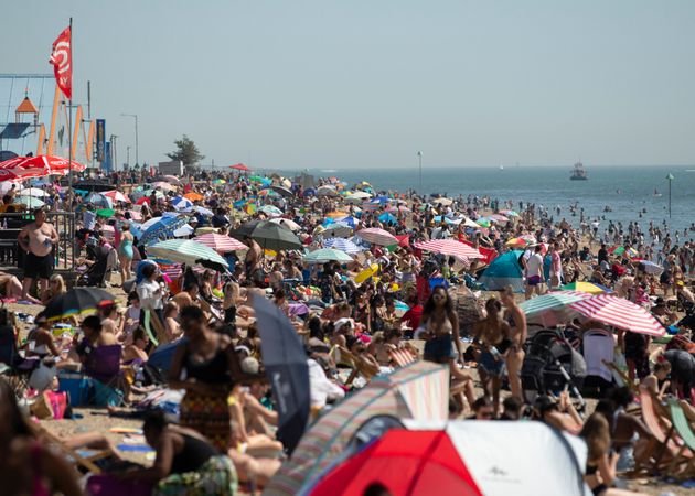 Large crowds gathered at Southend beach last week, the period covered by today's data, as temperatures soared due to a huge heatwave hitting the UK