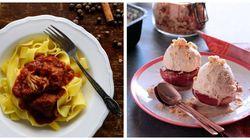 Κυριακάτικο Τραπέζι: Κοκκινιστό μοσχαράκι στην κατσαρόλα και ψητά ροδάκινα με παγωτό μέλι -