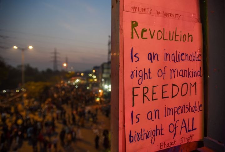 A slogan by Bhagat Singh on a placard at Shaheen Bagh, on February 9, 2020 in New Delhi, India.