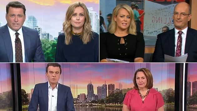 The hosts of Channel Nine's 'Today', Channel 7's 'Sunrise' and ABC's Breakfast