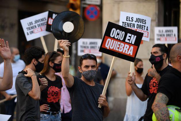 Una manifestación en contra del cierre de las discotecas en Barcelona el pasado 29 de